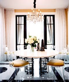 Girly dining space with flowers