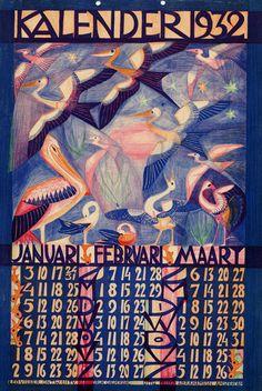 kalender 1932. Januari,februari, maart. Leo Visser (illustrator) Felix P.Abrahamson (publisher)