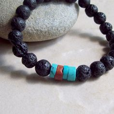 KONA Lava Bracelet with Turquoise Heishi and by riverpebble