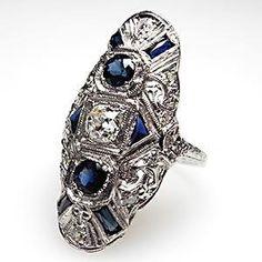 antique jewelry, diamond saphire ring.