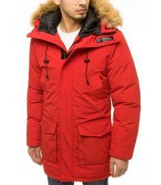Červená pánska zimná bunda s kapucňou Shinee, Metallica, Canada Goose Jackets, Hoods, Hooded Jacket, The North Face, Tommy Hilfiger, Rain Jacket, Windbreaker