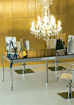Maletti Gold Night Collection consists of Maletti Dauphin technical table and matching mirrors