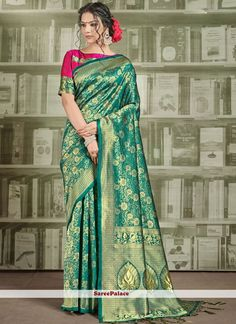 Green Weaving Art Silk Trendy Saree