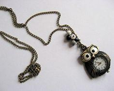 Colier bufnita ceas bronz pandantiv, onix, howlit si cristale - bijuterie femei - idei cadouri Pendant Necklace, Jewelry, Fashion, Moda, Jewlery, Jewerly, Fashion Styles, Schmuck, Jewels