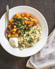 Moroccan Chickpea and Sweet Potato Stew - flavored w/ turmeric, garlic, ginger, & cinnamon