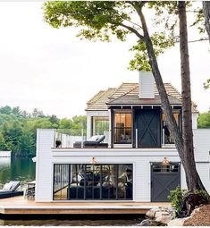 SHELTER: Out Door Inspiration - out of the box Post Crisis Banking Architecture - The (Virtual) Offi Future House, My House, Boat House, The Lake House, Modern Farmhouse Exterior, Farmhouse Style, Farmhouse Front, Cottage Style, Farmhouse Decor