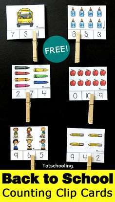 FREE printable preschool counting cards with a Back to School theme. Perfect for a math center for preschoolers to work on numbers, counting and fine motor skills! norwex back to school, back to middle school, tips for back to school teens Preschool Centers, Numbers Preschool, Fall Preschool, Preschool Learning, Math Centers, Kindergarten Math, Preschool Curriculum, Back To School Activities, Math Activities