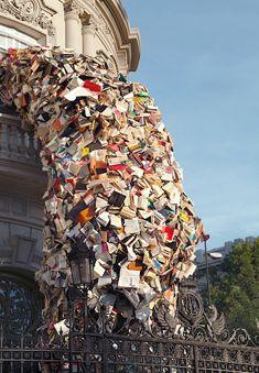 library book sculpture