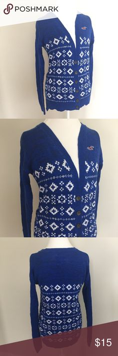 """Hollister Fair Isle Boyfriend Cardigan Sweater Blue and white boyfriend style Button front Fairisle Cardigan by Hollister. Size medium. Very soft and comfy. In very good condition with no flaws. Approximate measurements flat and unstretched: pit to pit with Cardigan buttoned 20.5"""", total length at front 24.75"""" and at back 27"""". ⚓️ No trades or holds. I do accept reasonable offers and offer a bundle discount. I only negotiate through the offer button. 🚭🐩T4 Hollister Sweaters Cardigans"""