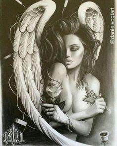 Angel with thorn roses Body Art Tattoos, Tattoo Drawings, Sleeve Tattoos, Angel Sleeve Tattoo, Roses Tatoo, Tattoo Gesicht, Angel Y Diablo, Engel Tattoo, Drawn Art