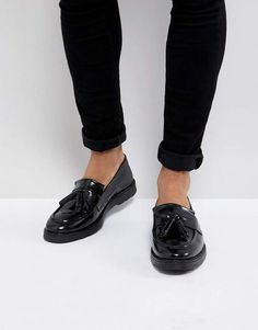 51235b50dea Asos Tassel Loafers in Black Leather Mocassins À Glands