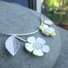 Flowering Branch Sterling Silver Necklace - Cherry Blossom - Handmade Metalwork £70.00