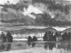 """Philip Koch, Lake Megunticook, vine charcoal, 9 x 12"""". I drew this in the driving rain from the front seat of my rental car on a painting trip to Camden, ME a few years ago."""