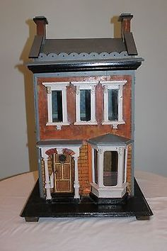 Antique German Blue Roof Dollhouse with Original Fireplace and Chandelier | eBay