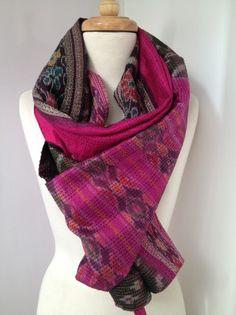 Black and shocking pink ikat in silk  Upcycled, vintage sari scarf