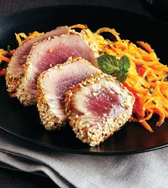Sesame-Seared Tuna - Clean Eating - Enjoy this recipe and For great motivation, health and fitness tips, check us out at: www.betterbodyfitnessbootcamps.com Follow us on Facebook at: www.facebook.com/betterbodyfitnessbootcamps