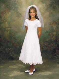 USD$86.97 - Latest Short Sleeves Lace Satin Scoop Neckline Tea-Length First Communion Dresses - www.weddinggownyes.com