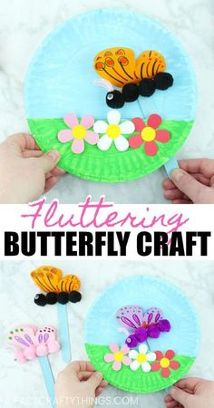 Paper Plate Fluttering Butterfly Craft - Spring Crafts For Kids Kids Crafts, Summer Crafts For Kids, Toddler Crafts, Creative Crafts, Preschool Crafts, Art For Kids, Craft Projects, Craft Kids, Spring Kids Craft
