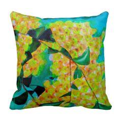 Yellow Wattle Australian native flower art pillow