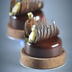 No photo description available. Elegant Desserts, Beautiful Desserts, Fancy Desserts, Köstliche Desserts, Delicious Desserts, Dessert Recipes, Chocolate Garnishes, Chocolate Desserts, Chocolate Decorations