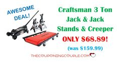 AWESOME DEAL! Get the Craftsman 3 Ton Jack and Jack Stands and Creeper for ONLY $68.89 (was $159.99) after SYW points!  Click the link below to get all of the details ► http://www.thecouponingcouple.com/craftsman-3-ton-jack-and-jack-stands-and-creeper/ #Coupons #Couponing #CouponCommunity  Visit us at http://www.thecouponingcouple.com for more great posts!