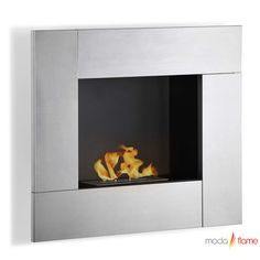 Moda Flame Reus Wall Mounted Ethanol Fireplace    The Reus creates a vibrant atmosphere wherever it is mounted, the contemporary mimicking lively work of art fireplace. It's square picturesque frame has a powder coated inner layer with a clean steel frame.