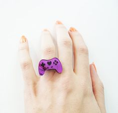 Purple and Black Controller Ring by Geeky Glamorous