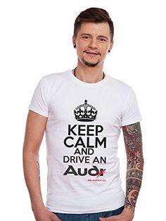 Men's Tshirt Colorful Audi Fans Car Logo Keep Calm Drive Audi Quatrro #camiseta #friki #moda #regalo