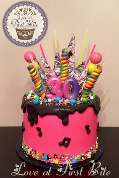 Pink and Black Candy Chaos Drip Cake