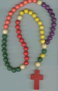 Childs Multi Colored 22 In Wood Rosary