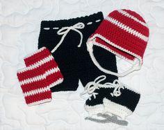BABY HOCKEY BOYS Crocheted Helmet Hat Pants Socks & by Grandmabilt, $84.00