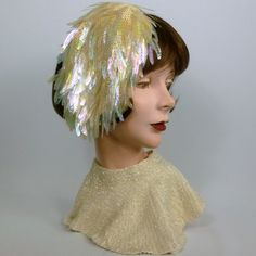 Ivory Sequined Bridal Cocktail Fascinator Hat - Vintage Italian Crocheted Hood…