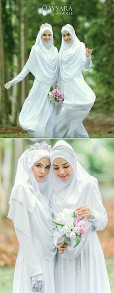 #muslimahexclusive Muslim Wedding Dresses, Muslim Gown, Malay Wedding Dress, Wedding Hijab Styles, Muslimah Wedding Dress, Hijab Style Dress, Bridal Dresses, Baju Nikah, Hijab Bride