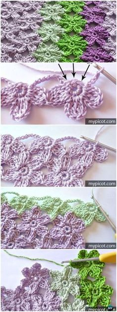 Crochet Flowers Crochet Joint Flower Stitch Free Pattern - Crochet Flower Stitch Free Patterns - Crochet Flower Stitch Free Patterns: crochet inline tulip stitch, open work flower stitch, rosebud stitch, and more inline flower pattern Crochet Puff Flower, Crochet Flower Patterns, Crochet Stitches Patterns, Crochet Designs, Crochet Flowers, Knitting Patterns, Crochet Leaves, Afghan Patterns, Craft Patterns
