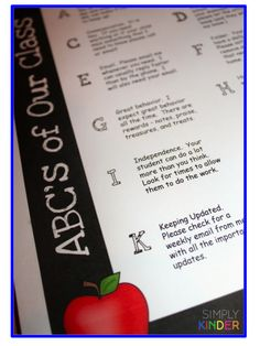 ABC's of Our Class Freebie from Simply Kinder!  Get ready for Meet the Teacher with this fun editable and FREE flyer for parents!