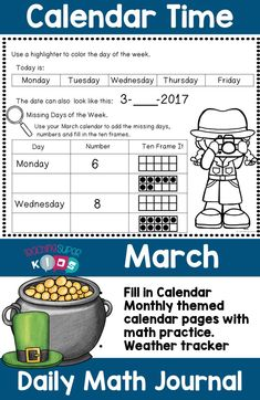Teaching children daily calendar related activities helps to increase their understanding of dates, time, numbers, days of the week and so much more. Calendar Themes, Calendar Activities, Hands On Activities, Teacher Created Resources, Teacher Resources, Kindergarten Activities, Learning Activities, Math Meeting, Daily Calendar Template