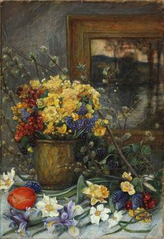 Still Life (Spring Flowers and Landscape Painting), not dated. Marie Spartali Stillman (1844–1927). Watercolor and gouache on paper, 19 5/8 × 13 1/2 inches. Private Collection.