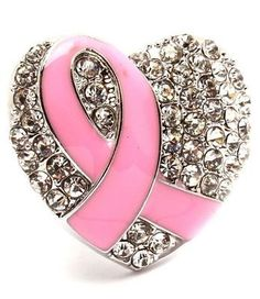 Amazon.com: Crystal Heart Pink Ribbon Stretch Ring Hope for the Cure Breast Cancer BIG New: Jewelry
