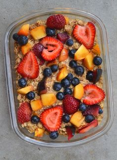 Summer Fruit Baked Oatmeal- swap with any fruit you want.