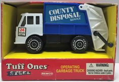 (TAS034119) - 1991 Remco Tuff Ones Steel Operating Garbage Truck Toy