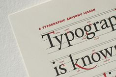 """""""Typographic Anatomy Lesson Plan"""" is a meticulous annotation of a pangram, and the idea's to teach designers various naming conventions and letterform characteristics, hence the eerie resemblance to grade-school penmanship homework. (All those red marks, especially.)"""
