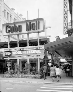 Cuba Mall entrance, Cuba Street circa Photographed by Duncan Winder. Old Pictures, Old Photos, Cuba Street, The Hutt, Kiwiana, Advertising Signs, British Isles, What Is Like, Homeland