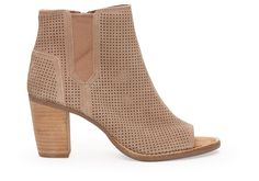 Stucco Suede Perforated Women's Majorca Peep Toe Booties | TOMS