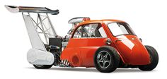 """Bruce Weimer has a unique collection of 200 micro cars, all in working condition. He decided in 2005 to build a fun miniature replica sold by Hot Wheels 1:43. Here are pictures of monster called explicitly """"Whatta Drag,"""" based on a BMW Isetta 1959."""