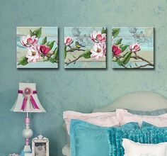 Shabby Chic pink & teal magnolia Set of 3 Canvas Art. Design: Are you in love with Shabby Chic ? These beautiful art blocks are the perfect additions to any Shabby Chic room. Perfect for adding a unique and creative touch to your home, or giving as a thoughtful gift. Its a great way to decorate a kitchen, nursery or a bedroom. Product Material: They are produced on stretched canvas, and available in many sizes. The image wraps around the sides of the wooden frame canvas, and is ready t...
