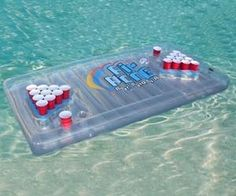 You can't have a pool party without an inflatable beer pong table!  #pool #beerpong #beer