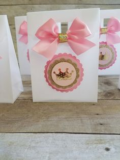 Pink and gold party Princess Party Favor Crown Treat Bags