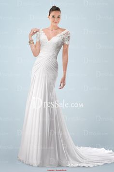 Noble V-neckline A-line Wedding Dress with Appliqued Bodice and Draped Skirt