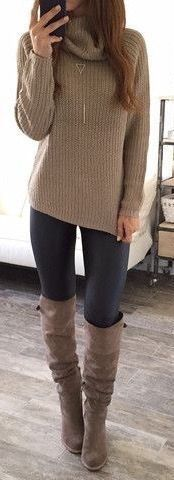 #fall #fashion / turtleneck knit + boots