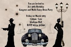 50 birthday party gangster | Custom Printed Birthday Party Invitations Gangster and Molls ...